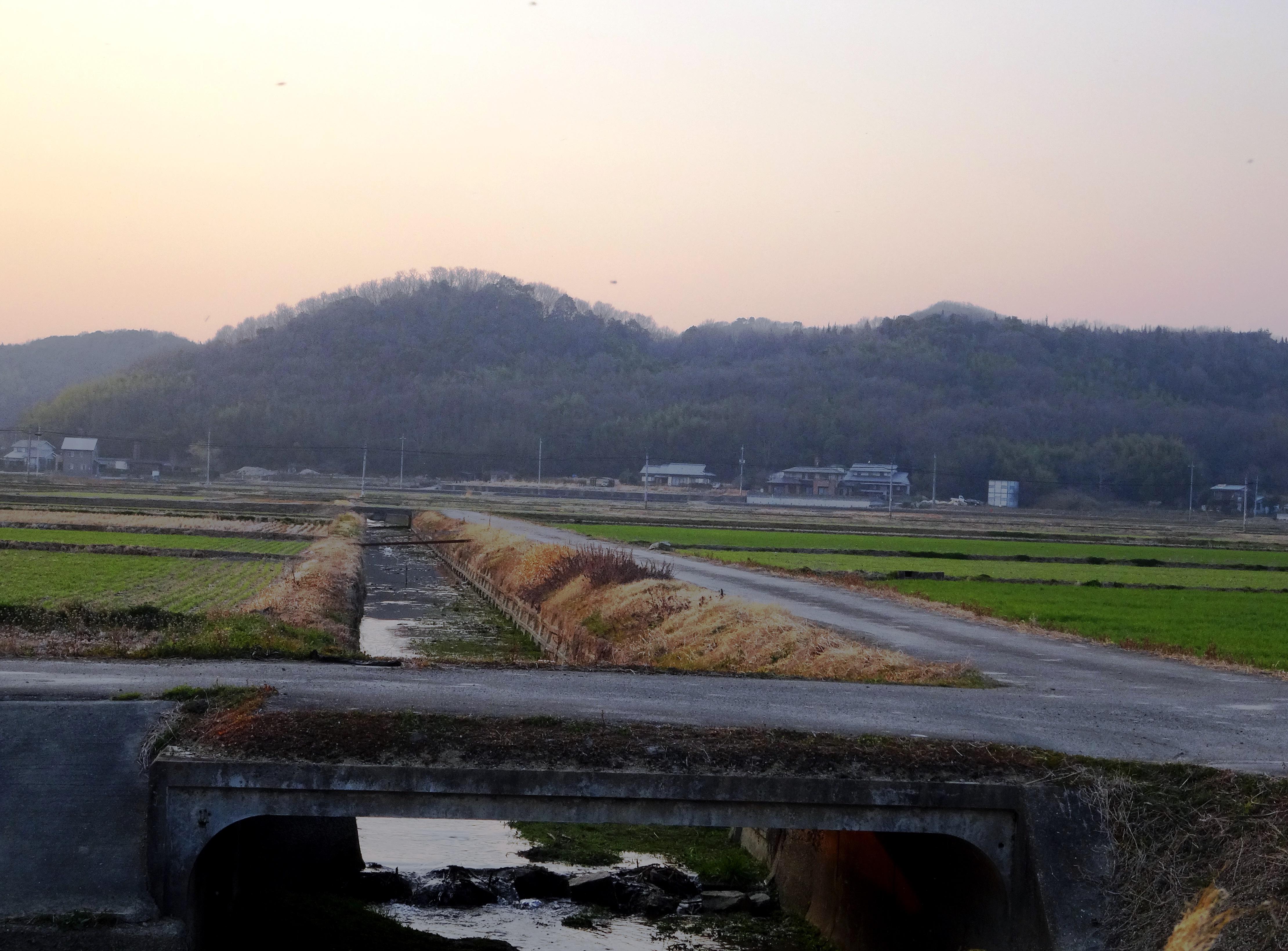春の田舎夕景