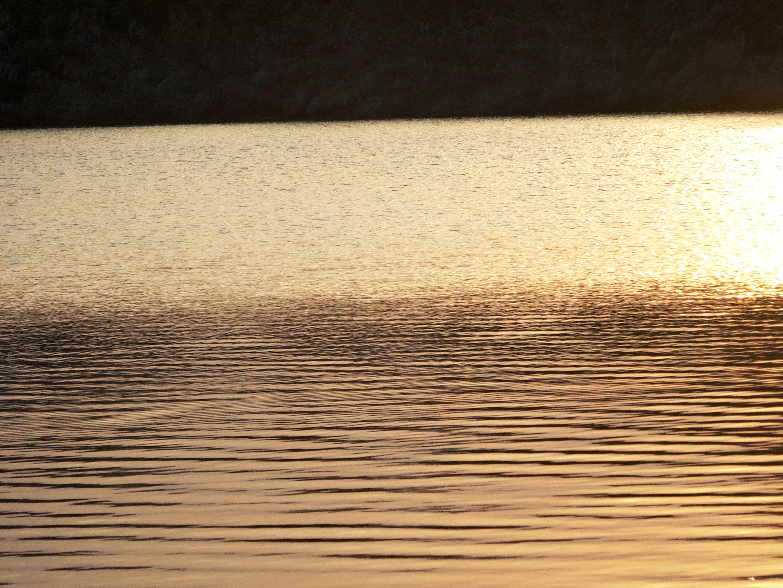夕暮れ川辺