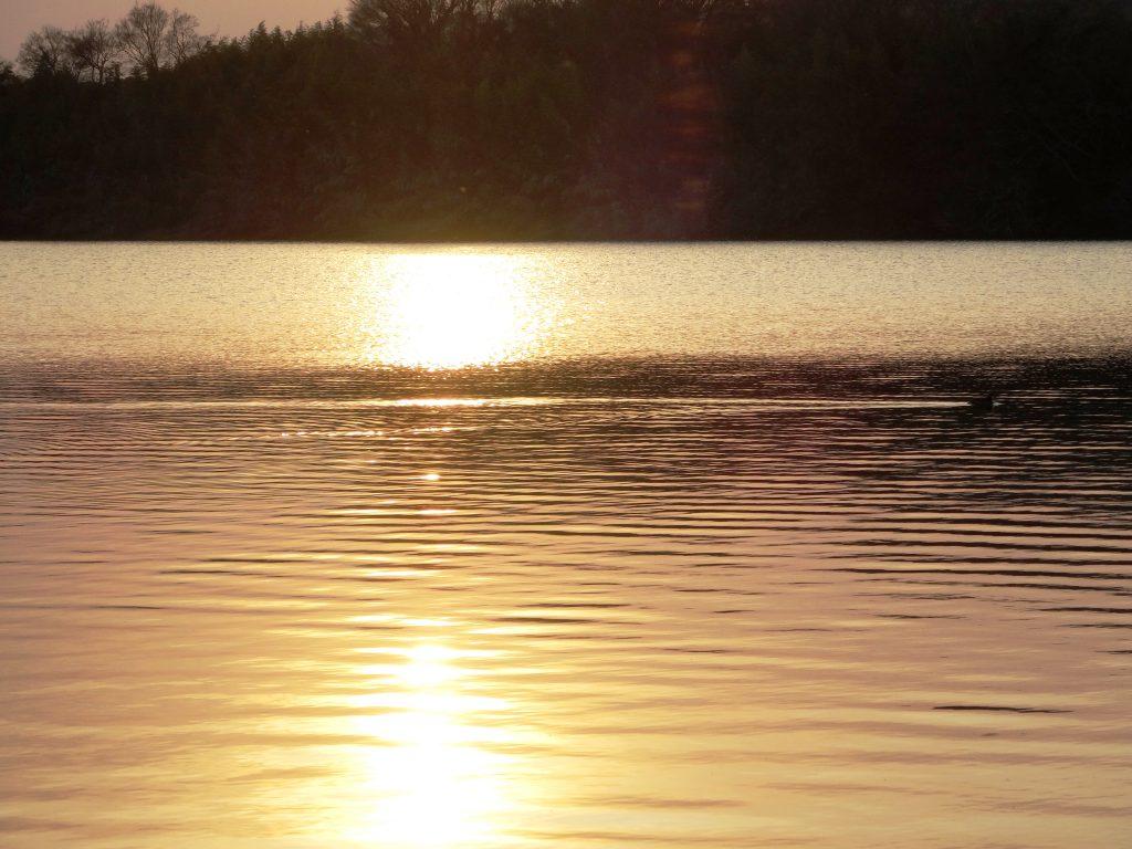 穏やかな川と夕日
