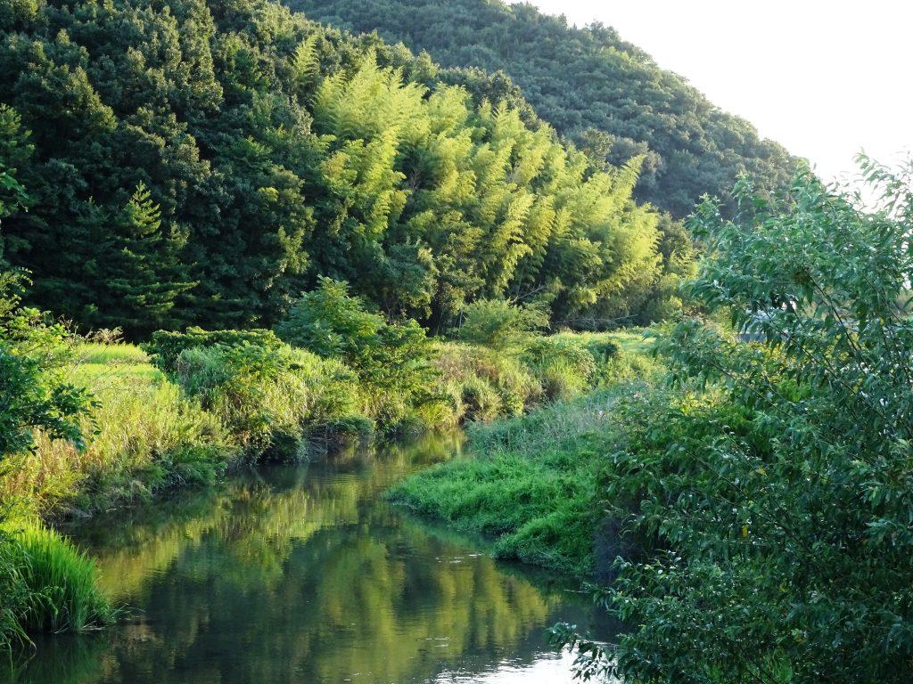夕景 川面に移る山