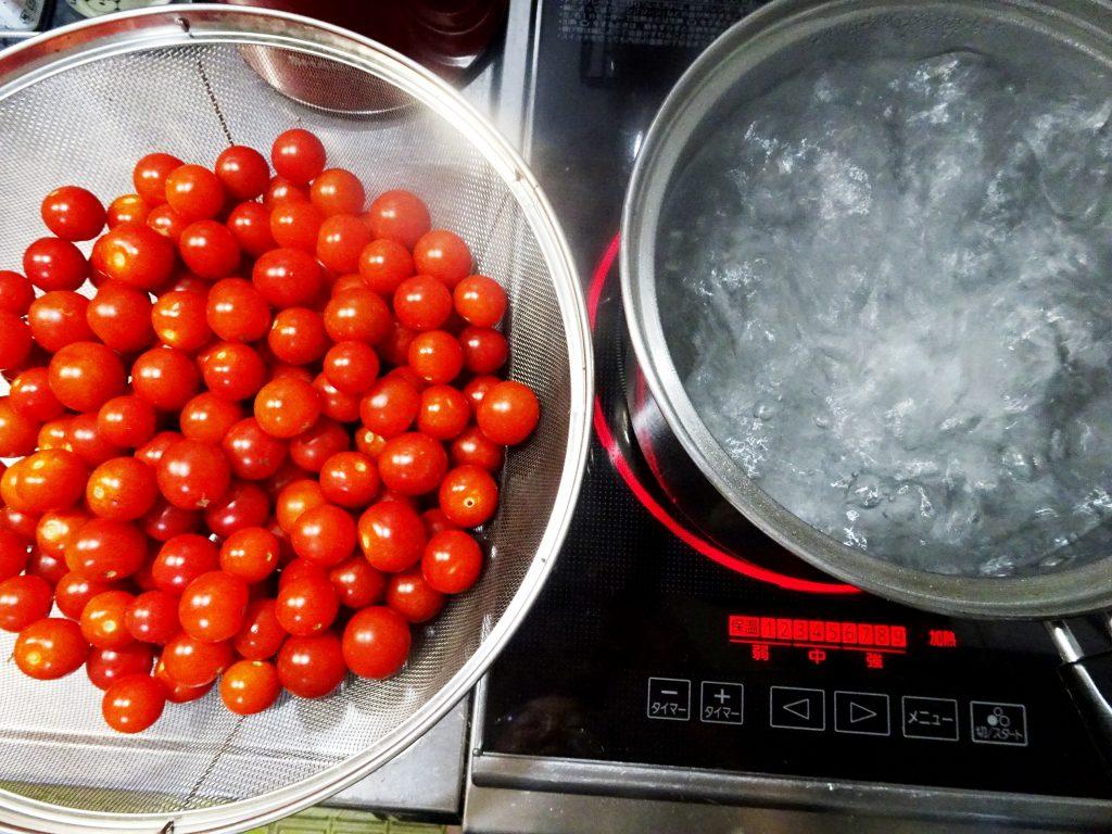 プチトマトの湯通し