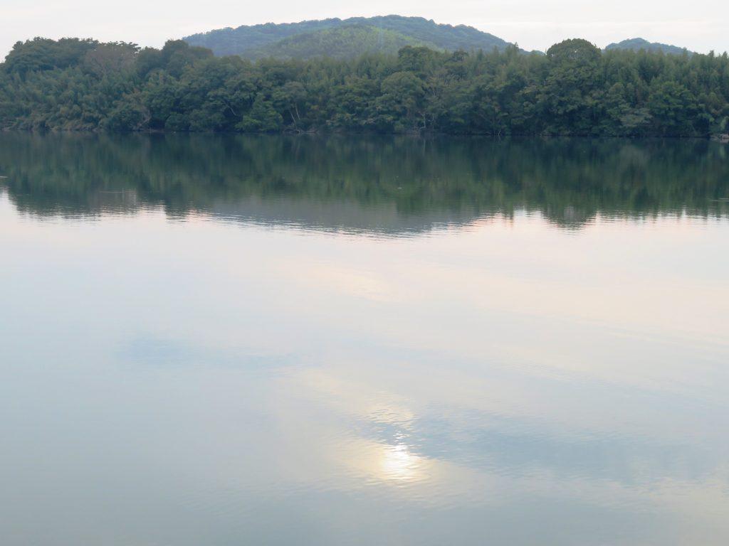 夏、川辺の夕景