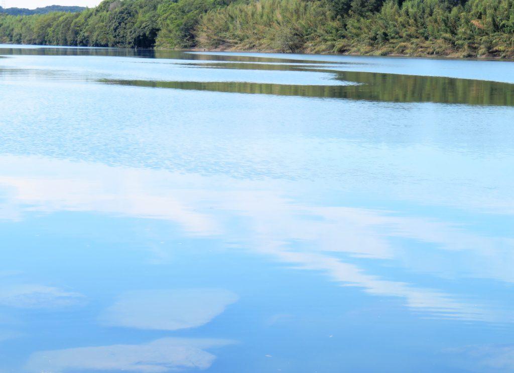 秋の青空と雲 河川敷