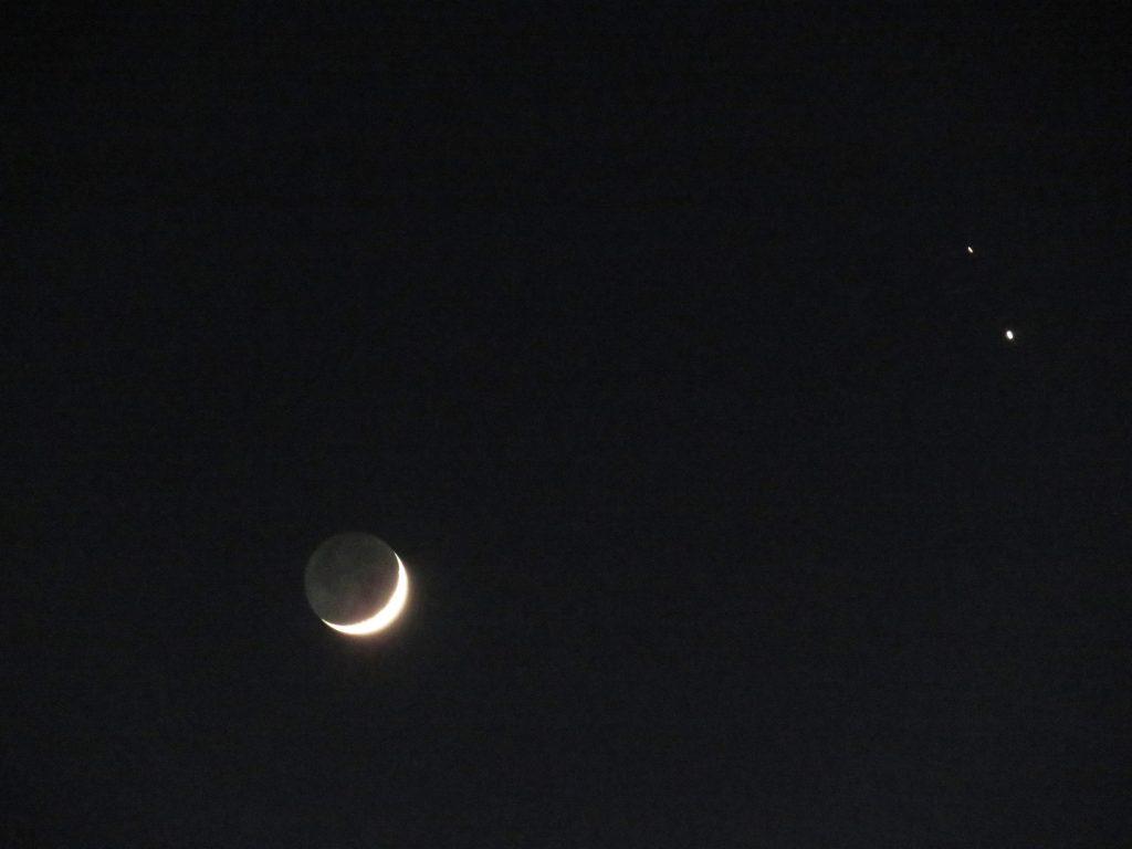 三日月と木星と土星